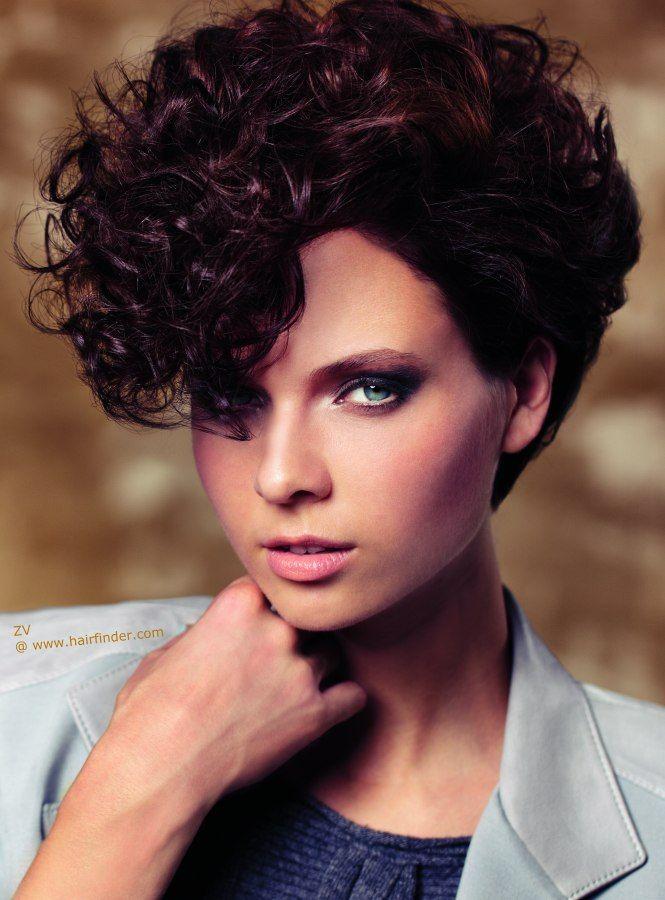 short asymmetrical curly dark brown hair short haircut