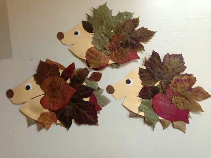 Ежик с листьями поделка 13