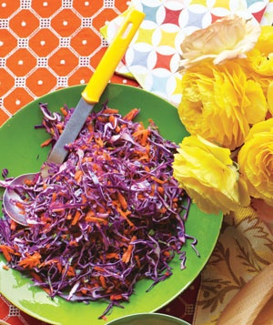 Tangy red cabbage slaw Made this for this-it's light and fresh.