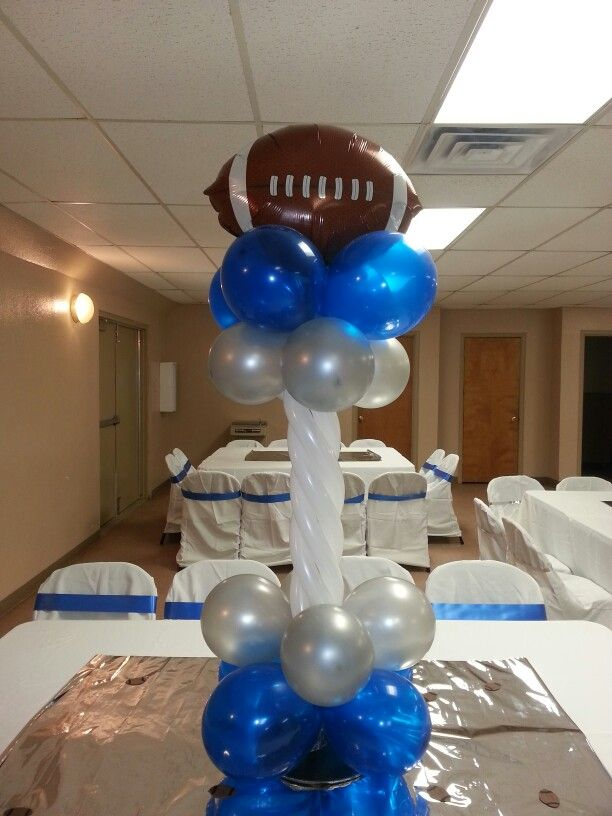Football centerpiece balloons by brooklyn balloon
