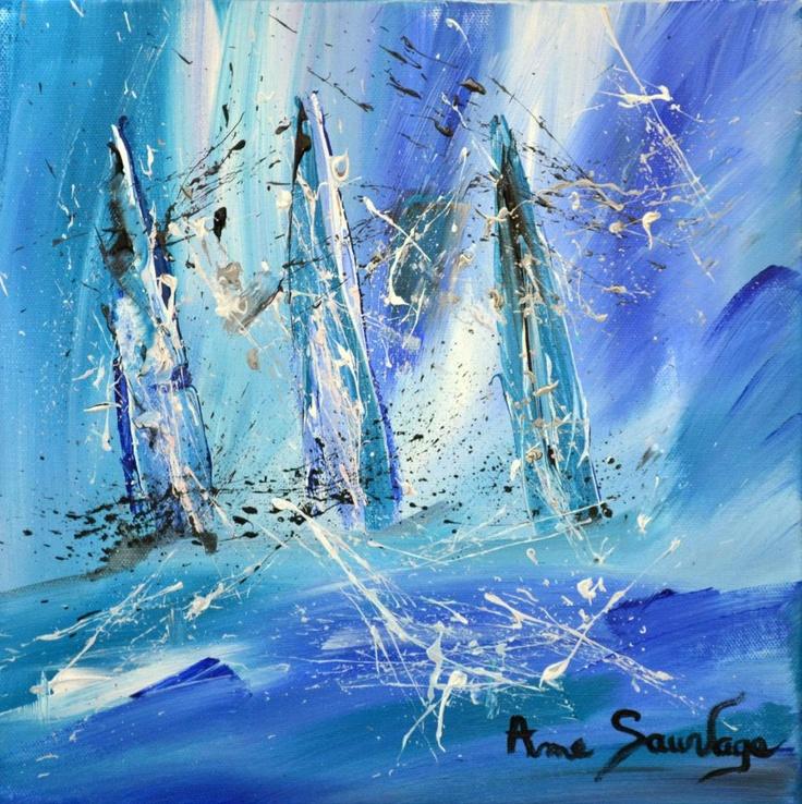Tableau abstrait bateau mer peinture abstraite et realiste for Photo de tableau abstrait