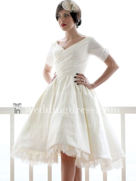 Short taffeta lace hemmed plus size wedding dress for Plus size hawaiian wedding dresses