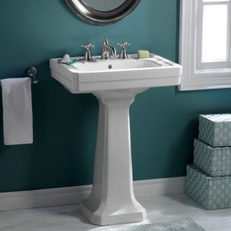Porcher Pedestal Sink : Porcher 04558 24 Pedestal Sink Top Only with 8 Center Faucet Holes ...