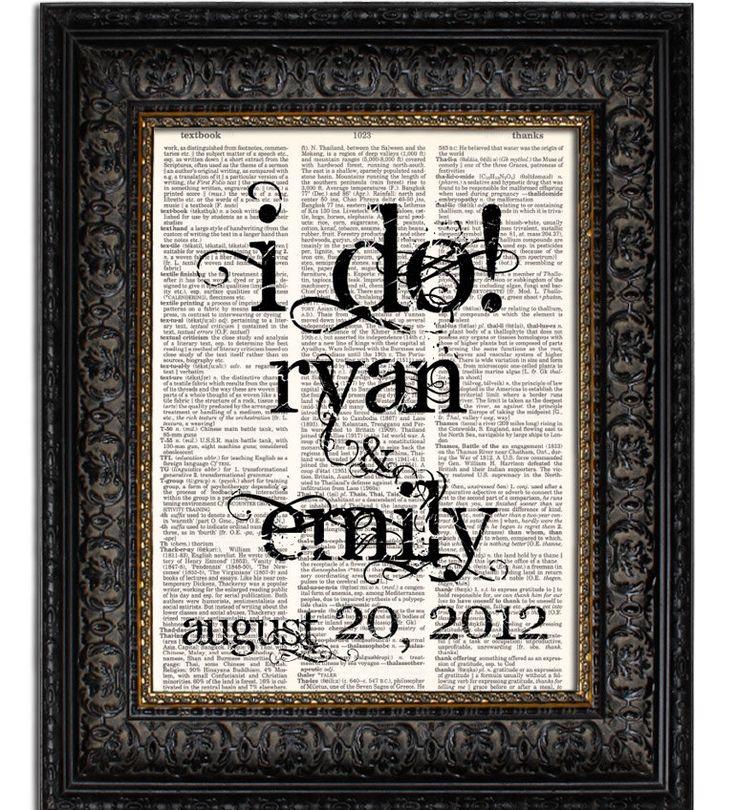 Wedding Gift Art : Custom Wedding GiftI DOPersonalized WEDDING Sign Art Print book ...