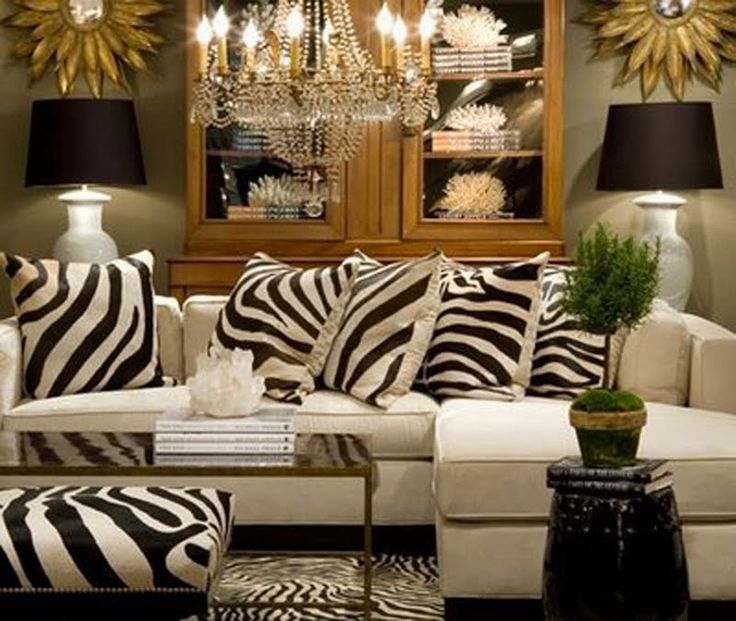 Pin by heather m b on hollywood regency pinterest for Living room decorating ideas zebra print