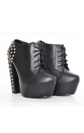 womens studded spiked heel platform boots shoes
