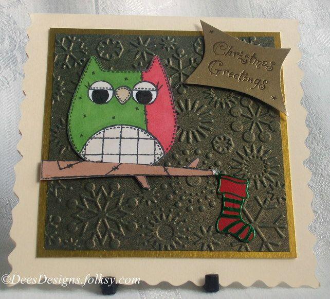Handmade Christmas Card, Owl (1)