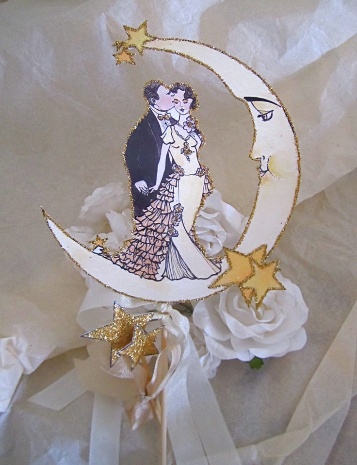 Art Deco Moon Cake Topper : Art Deco Crescent Moon Wedding Cake Topper....love love ...