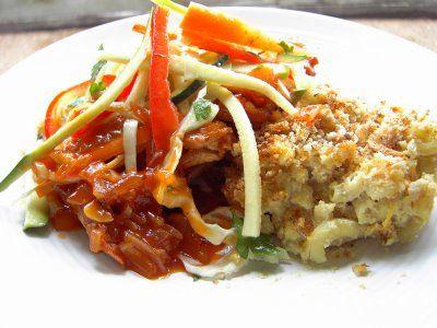 Vegan Thyme: Vegan BBQ Tofu with Mac and Cheese and Zuke Slaw