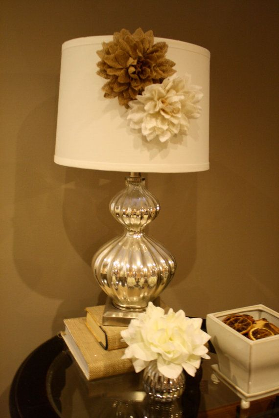 burlap lamp shade magnetic flower accessory lamp shade cover. Black Bedroom Furniture Sets. Home Design Ideas