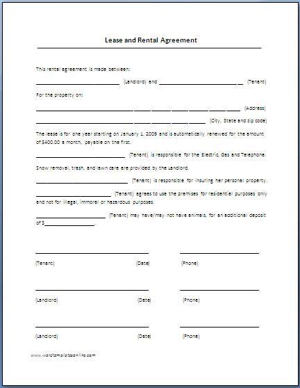 land rental and lease form - solarfm