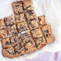 Linzer Blitz Torte--chewy, crispy, nutty squares with a layer of sweet ...