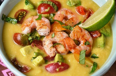 Chilled Corn Soup with Shrimp, Avocado and Tomato Relish — Punchfork