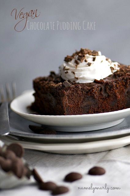 Vegan Chocolate Pudding Cake (coconut milk, corn starch, flour, cocoa ...