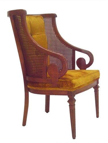 Vintage cane wingback chair hollywood regency mid century modern era