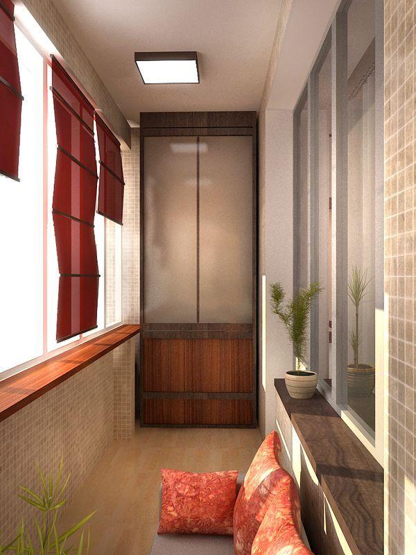Дизайн 6 метровой лоджии со шторами