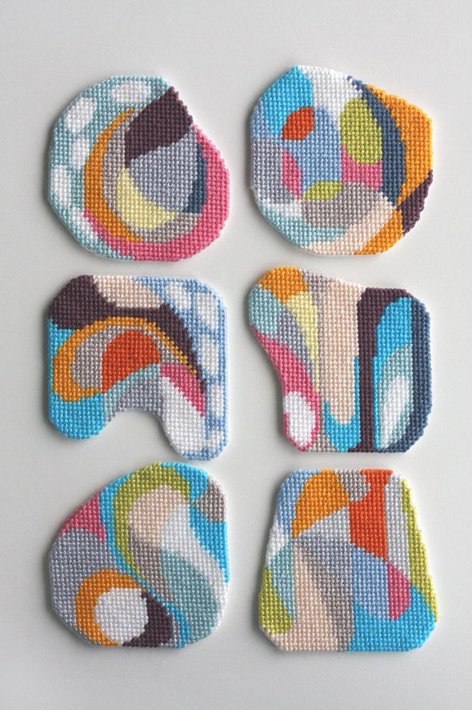 Needlepoint coaster set by CresusArtisanat - fun abstract mid century esque coasters