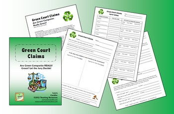 """Green Court Claims Environmental Lesson - Kids investigate the """"green"""" claims made by companies to determine if they are valid"""