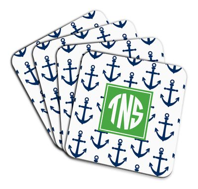 Navy Anchors Coaster Set