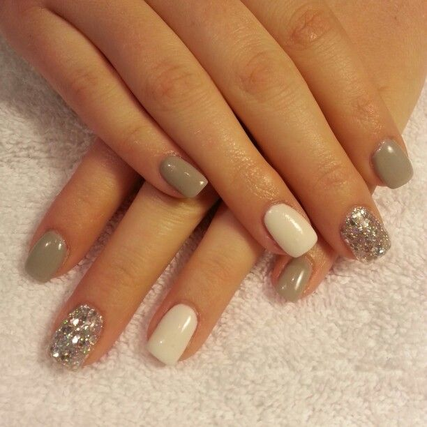 Gray And White Gel With Silver Glitter Nails By Me