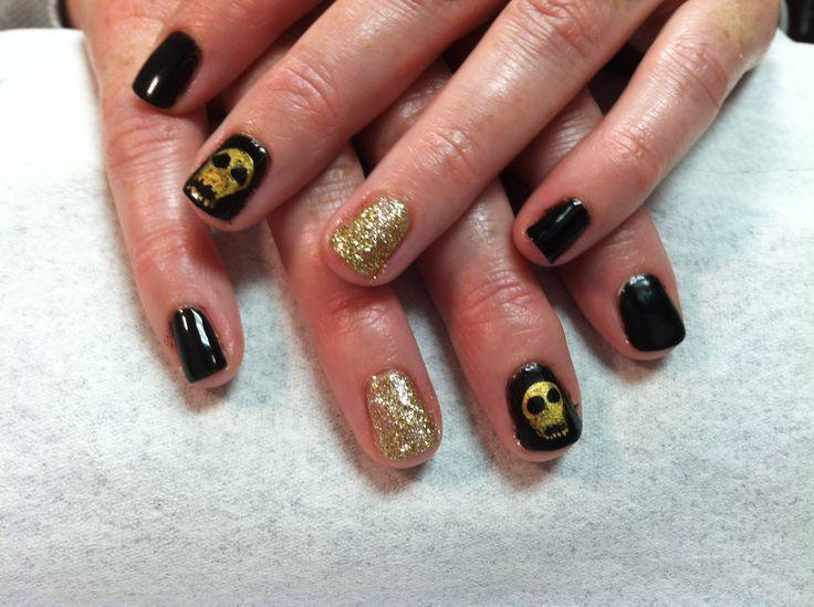 Skull shellac nails black gold glitter   My shellac nail art