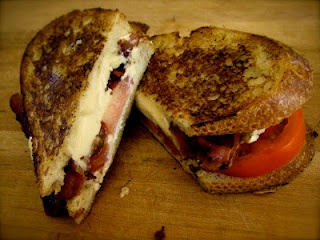 Grilled Goat Cheese, Brie, Bacon and Tomato Sandwich