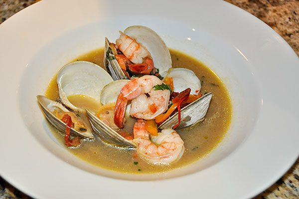 full of aphrodisiacs!! Tiger Shrimp & Clams in a Spicy Basil Broth ...