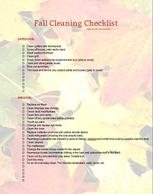 » Fall Cleaning Checklist