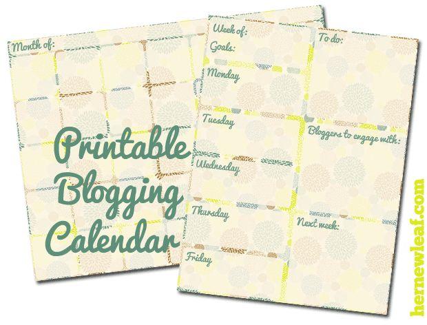 Her New Leaf - Free Printable Blogging Calendar