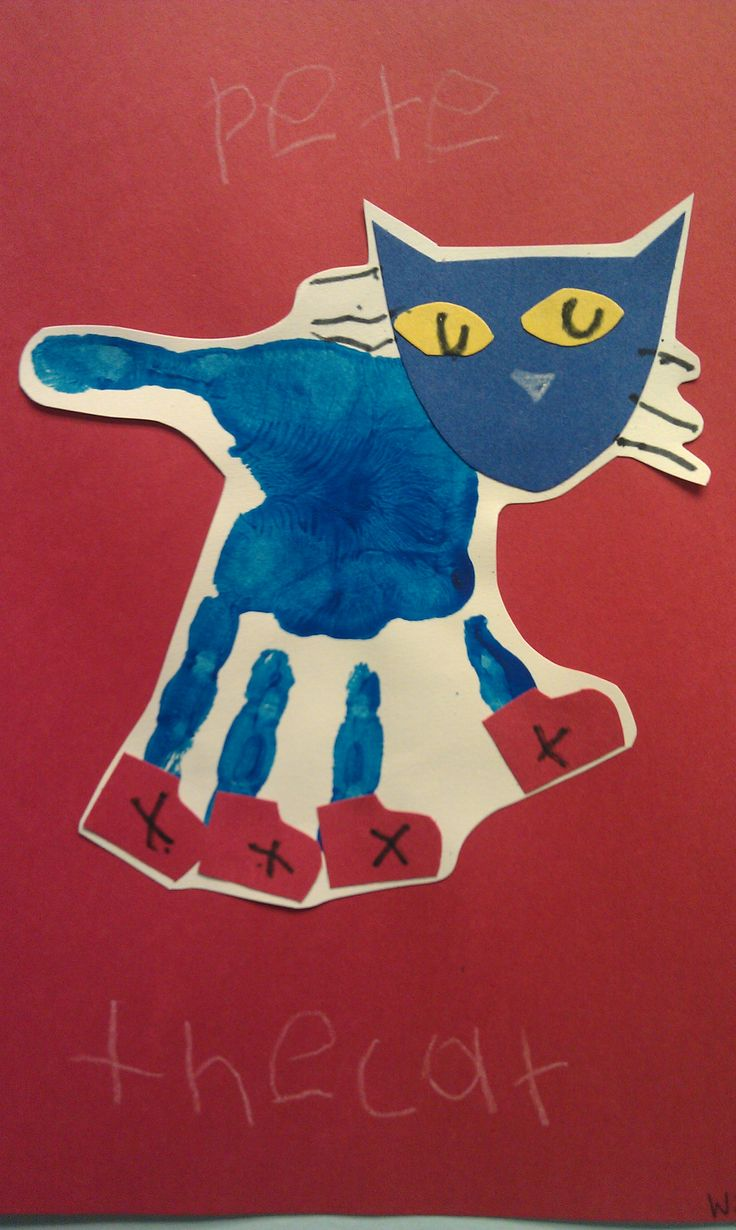 Kindergarten Infusion lesson?  Pete the Cat handprint. Could use as a segue into printing/stamping lessons?