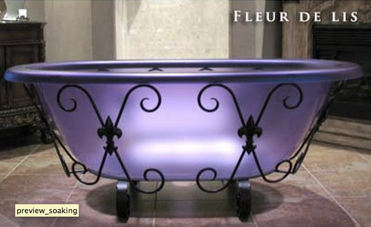 Soaking tub in purple indulge me pinterest for Purple glass bathtub