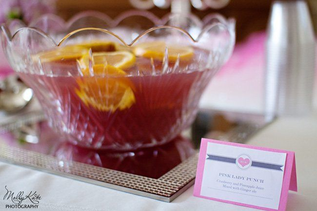 Pink lady punch .... maybe champagne or prosecco instead of ginger ale ...