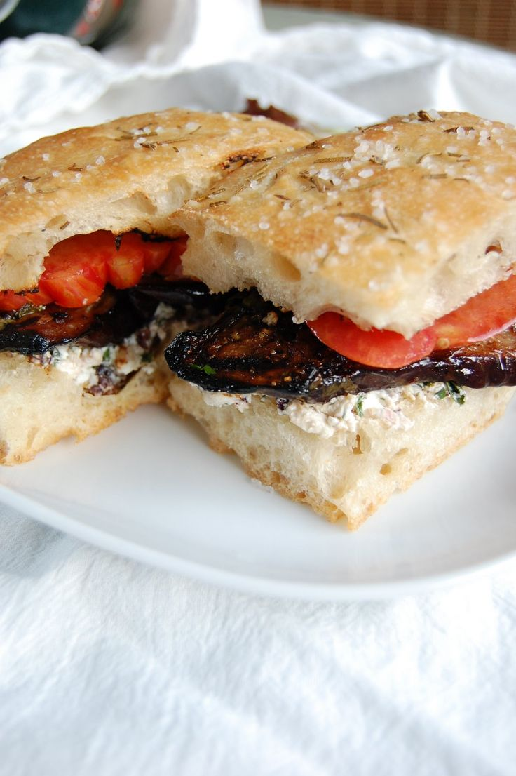 ... eggplant and heirloom tomato panini with chevre and kalamata tapenade