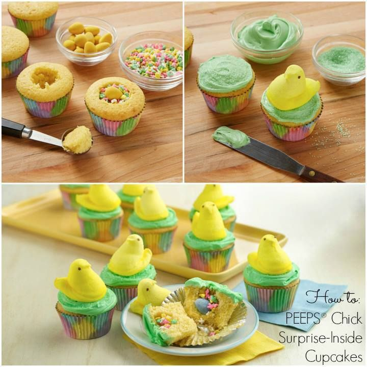 Peeps cupcakes with a surprise inside! | Easter | Pinterest