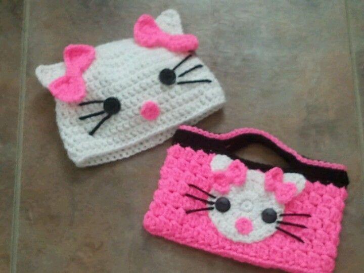 Crochet Purse Patterns Hello Kitty : Crochet Hello Kitty Purse and Hat Crocheted hats ...