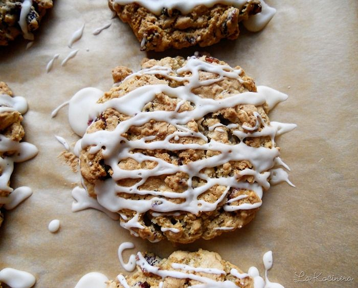 Cranberry Oatmeal Cookies with Maple Syrup Glaze