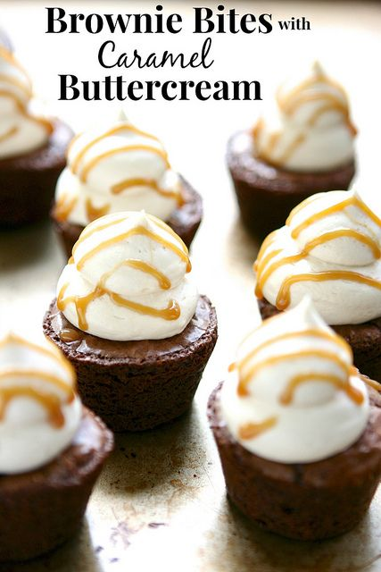 Brownie Bites with Caramel Buttercream