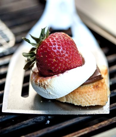 skewered strawberry amp marshmallow s mores recipe at epicurious com