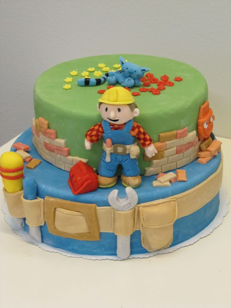 Bob the builder cake - Cake is covered with sugarpaste and all details are sugarpaste too.