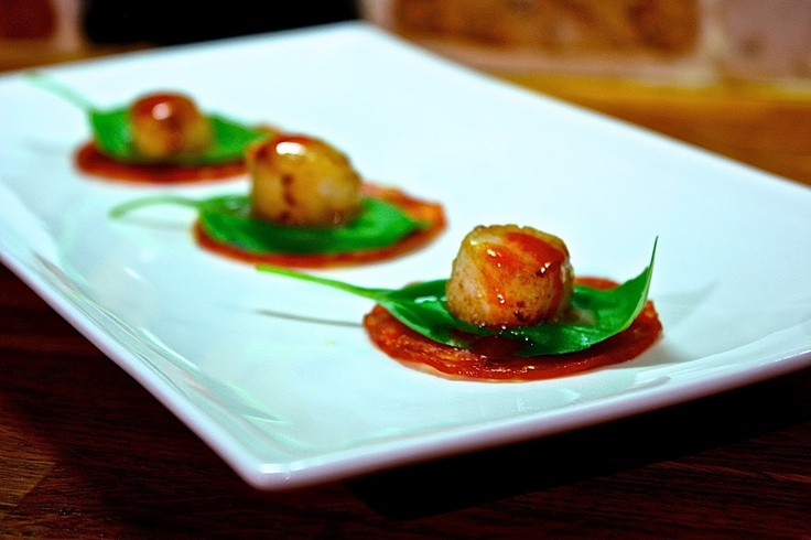 ... or party finger food made from pepperoni, basil, scallops and chili
