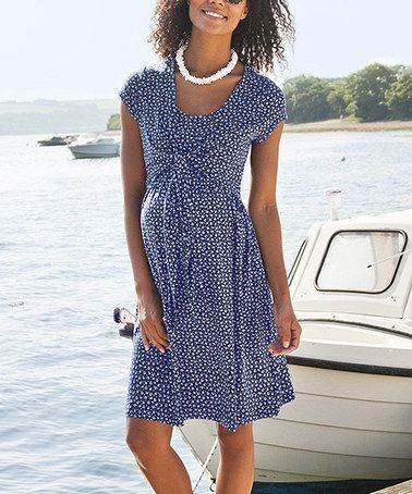 Zulily navy floral tie front maternity cap sleeve dress by jojo maman