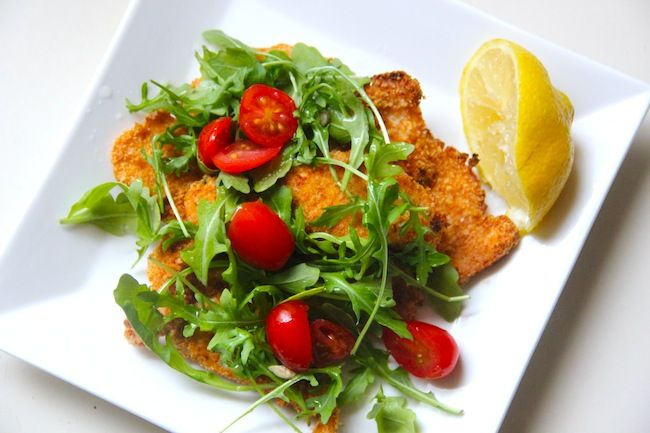Baked Chicken Milanese with Arugula & Tomato Salad | Recipe