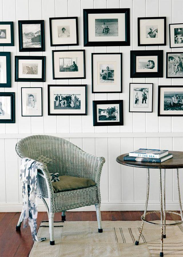 Black and White photo album wall