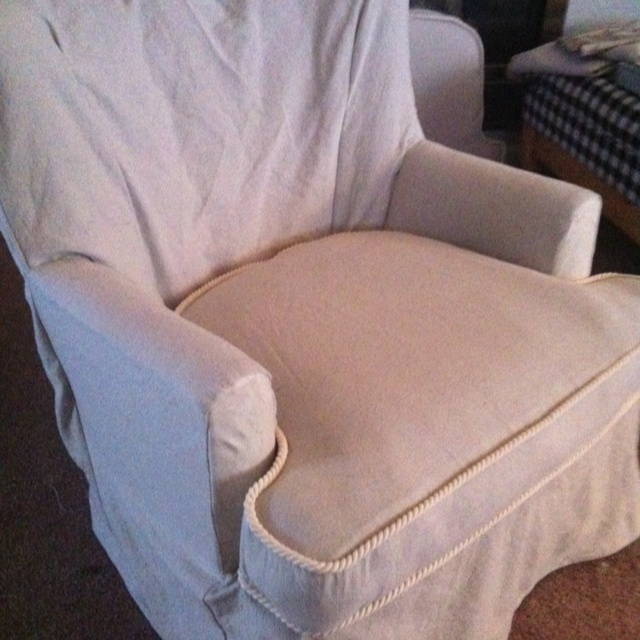 Ugly gold chair covered in drop cloth! | Shades and Slipcovers | Pint ...