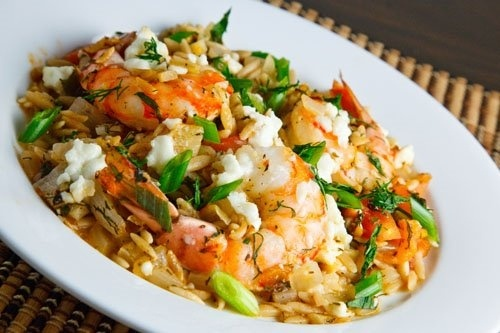 Orzo Shrimp with Feta Cheese