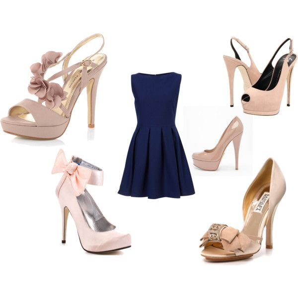 navy dresses with blush pink shoes fashion feverrrr