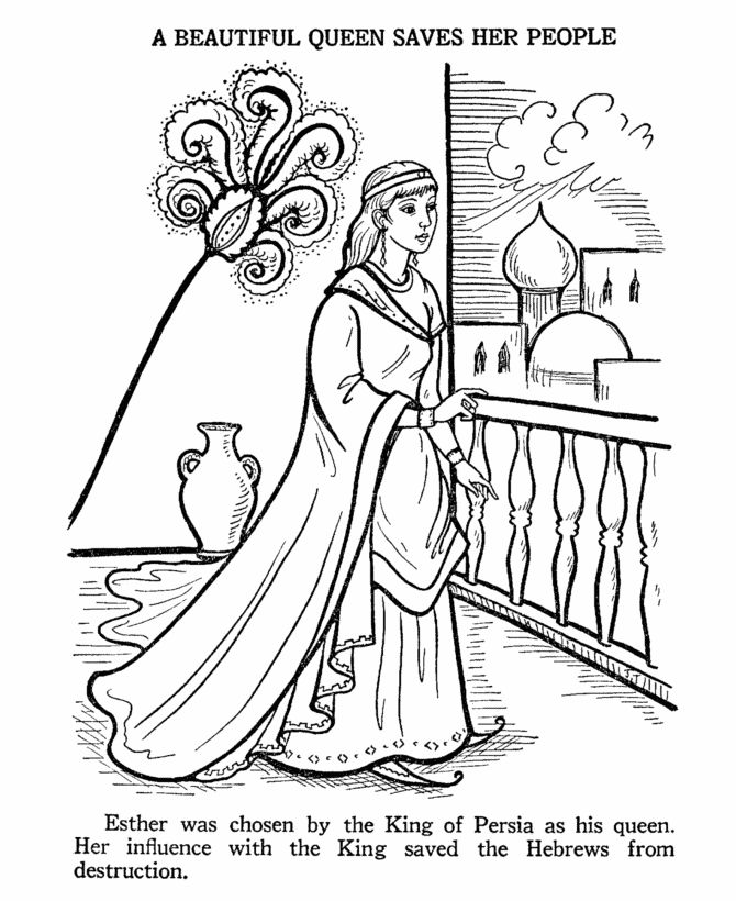 Coloring Pages Queen Esther : Ester bible story coloring page esther pinterest