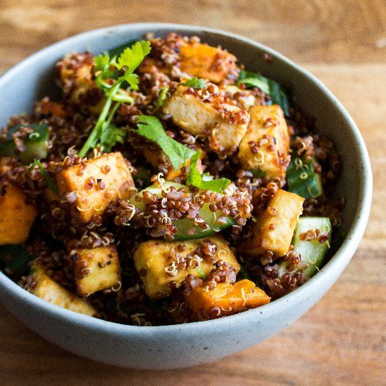 Miso Roasted Veggie Tofu Bowl. Delicious, comforting, healthy & vegan ...