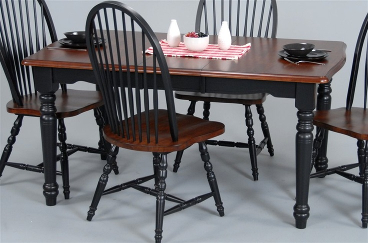 Wood dining table in cherry amp black finish w turned legs country cl
