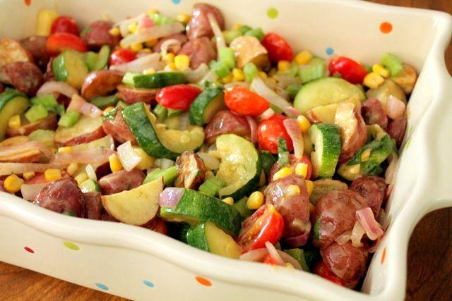 Healthy Roasted Potato Veggie Salad | I Heart Food | Pinterest